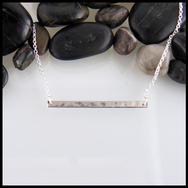Hammered silver bar pendant