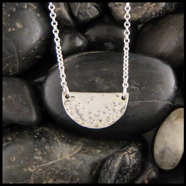 Hammer finished Sterling Silver Half-Moon Necklace