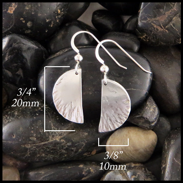 Hammered Half-Moon Silver Earrings