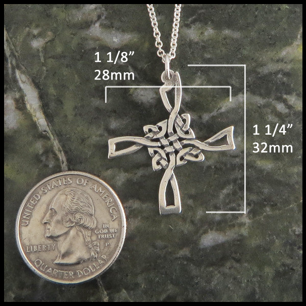 Open Knotwork St Brigid Celtic Cross in Sterling Silver