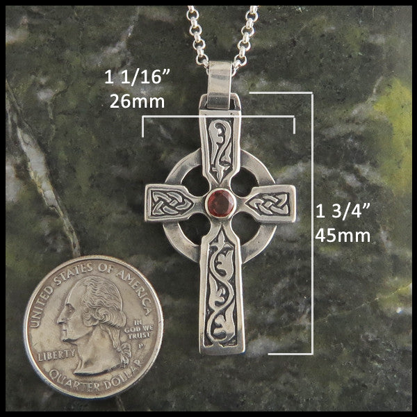 Walker Metalsmiths handcrafted Celtic Ivy Cross in Sterling Silver with Gemstones