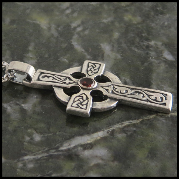 Walker Metalsmiths Celtic Ivy Cross in Sterling Silver with Gemstones