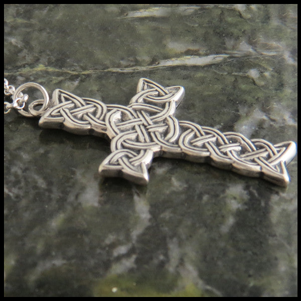Detailed Braided Celtic Cross in Sterling Silver