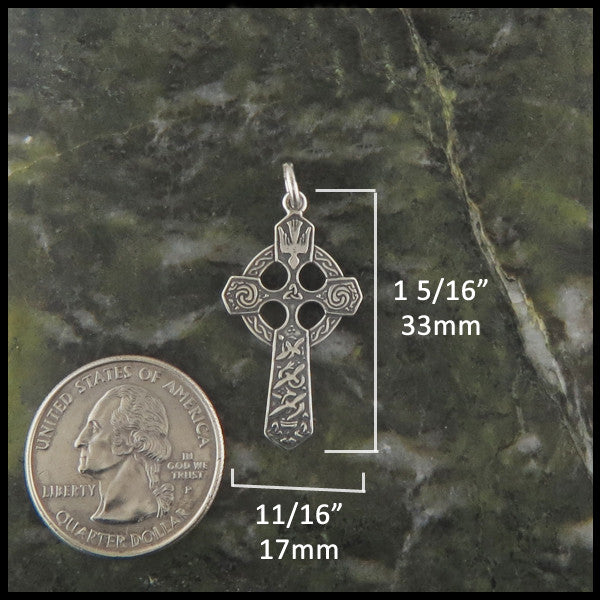 14K Gold Small Trinity Celtic Cross Pendant