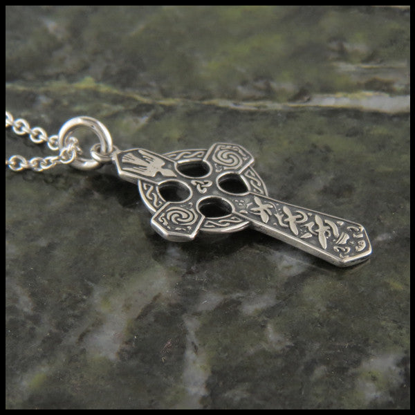 Small Trinity and Dove Celtic Cross in Sterling Silver