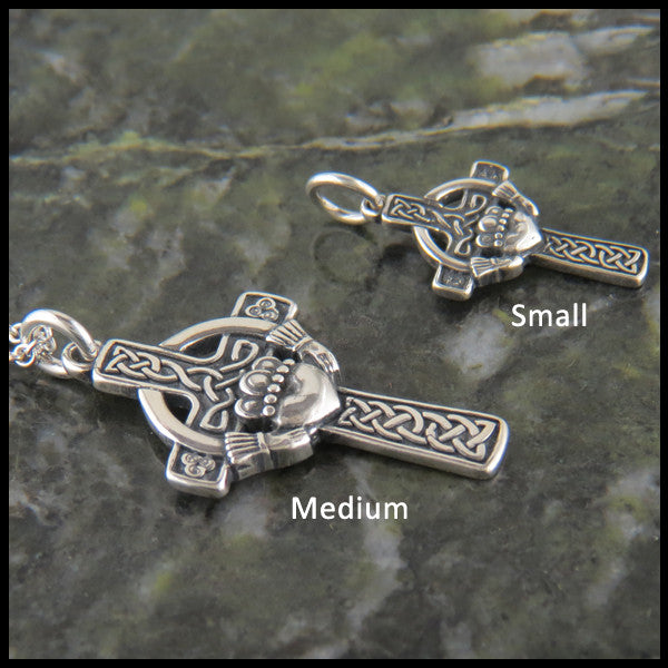 Traditional Celtic Cross with Irish Claddagh in 14K Gold
