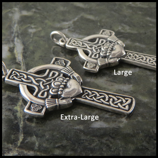 Sterling Silver Claddagh Celtic Cross Pendant