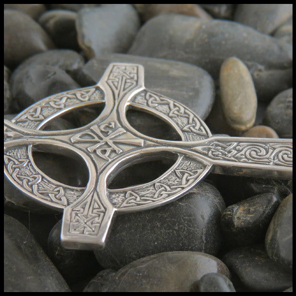 Celtic Chi Rho Pectoral Cross in Sterling Silver