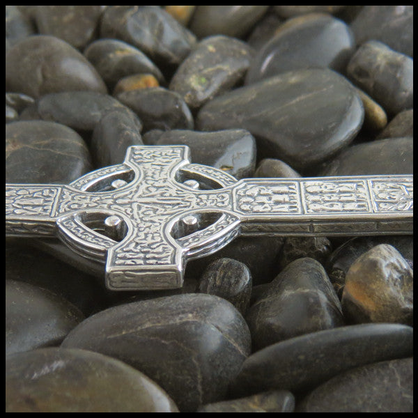 Large Irish Celtic Cross in Sterling Silver