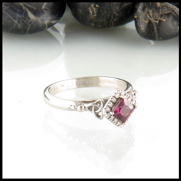 Rhodelite Garnet Celtic Engagement Ring