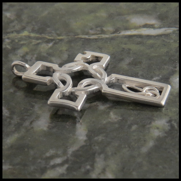 Open Knotwork Celtic Cross in 14K Gold