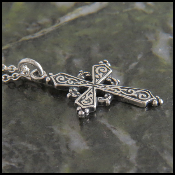 Feminine Medieval Celtic Cross in Sterling Silver