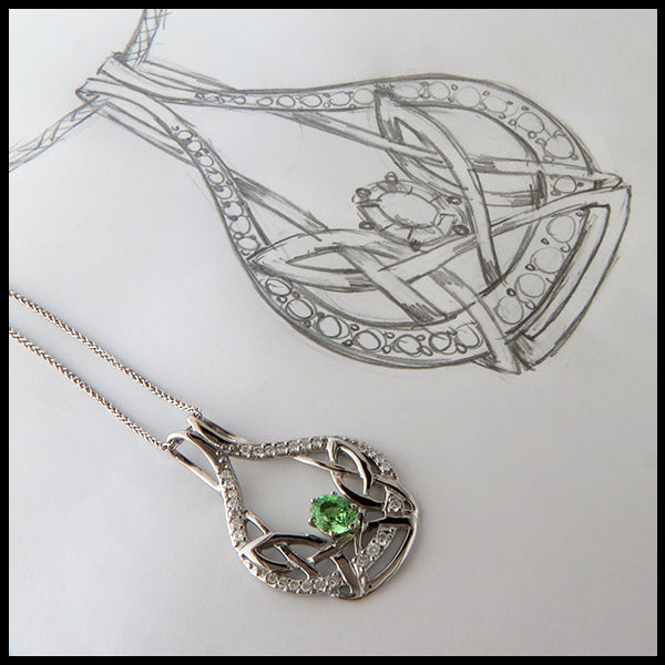 Art Nouveau Pendant with Diamonds and Mint Garnet