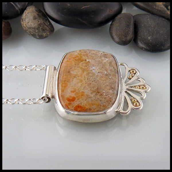 Fossilized Coral Pendant in Sterling Silver & Gold
