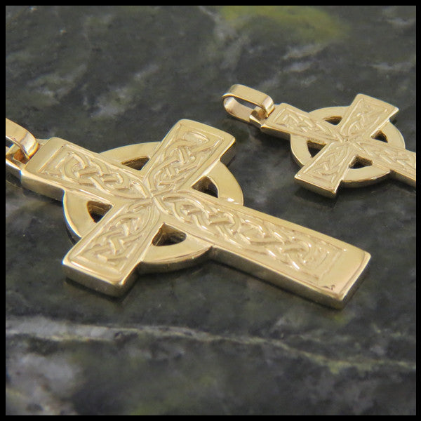 Traditional Celtic Knot Cross in 14K Gold