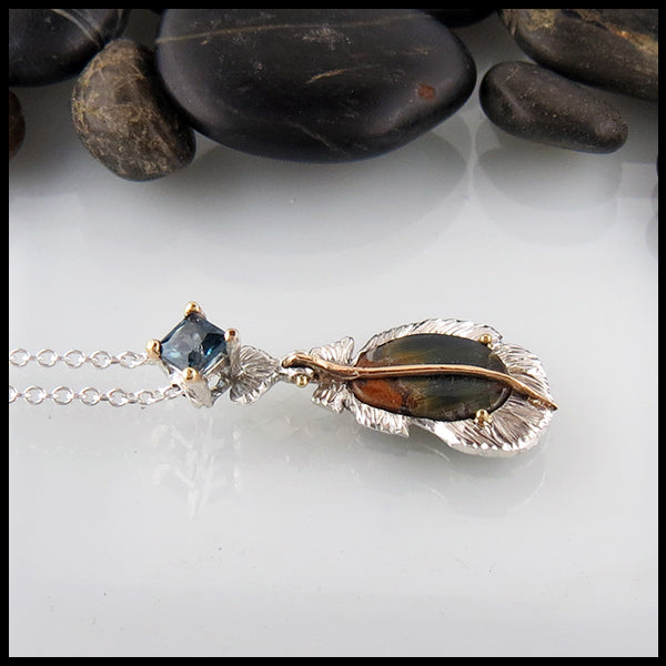 Pietersite and Blue Topaz Feather Pendant