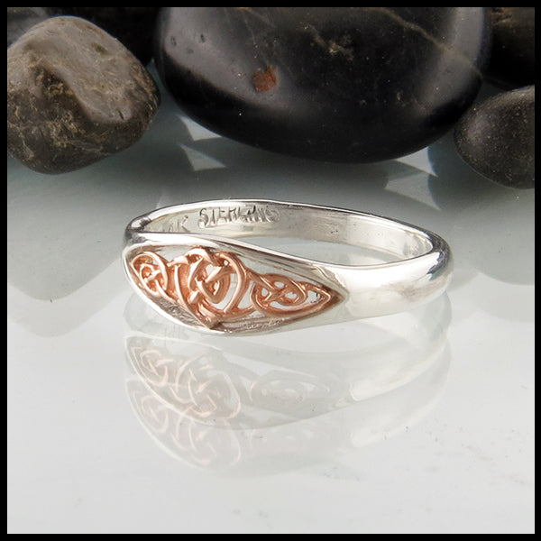 Brianna's Heart Knot Ring in Sterling Silver and Rose Gold