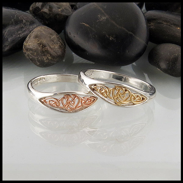 Celtic Heart knot ring in Gold and Silver