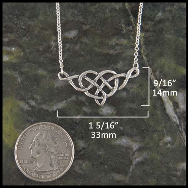 Heart Knot bar pendant in Sterling Silver