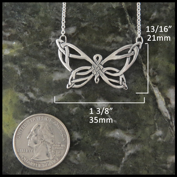 Butterfly Celtic bar pendant in Sterling Silver