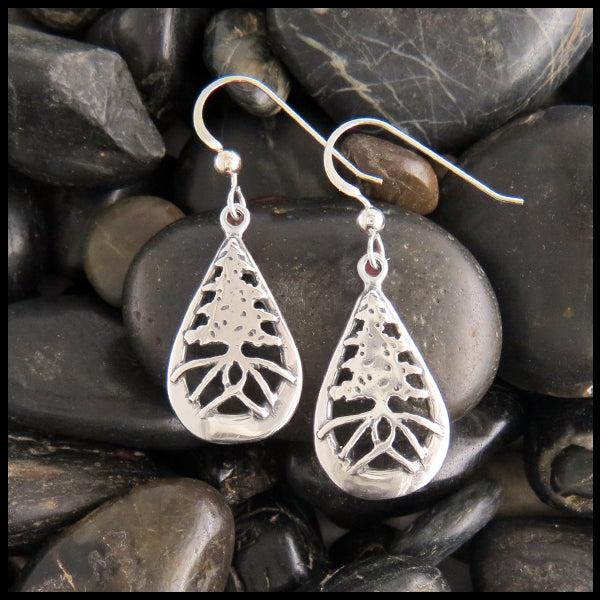 Rustic Celtic Pine Tree Earrings