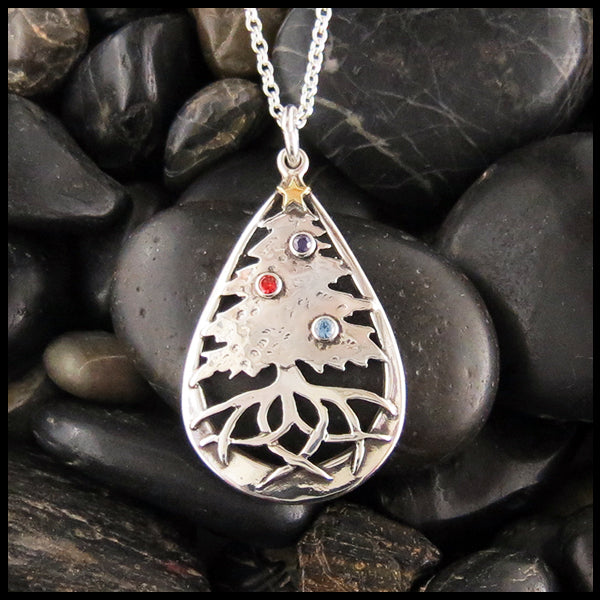 Family Pine Tree Pendant in Silver