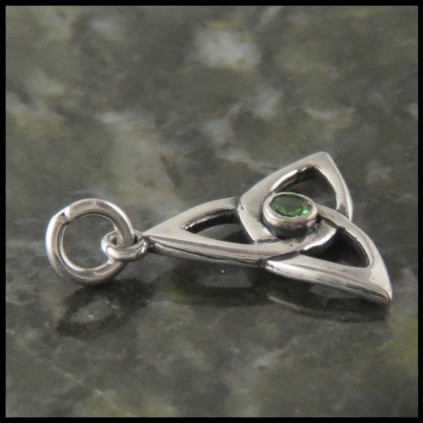 Trinity Knot pendant in Sterling Silver with gemstones