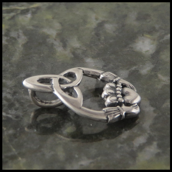 Trinity Knot and Claddagh Pendant and Earring Set in Sterling Silver