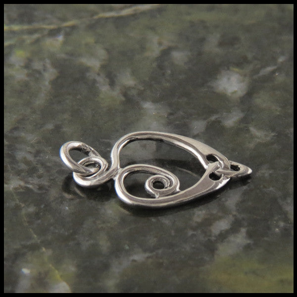 Small Spiral heart Celtic pendant in Sterling Silver