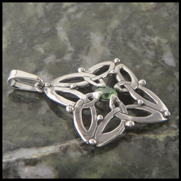 Trinity Star Celtic Necklace in Sterling Silver with Birthstones