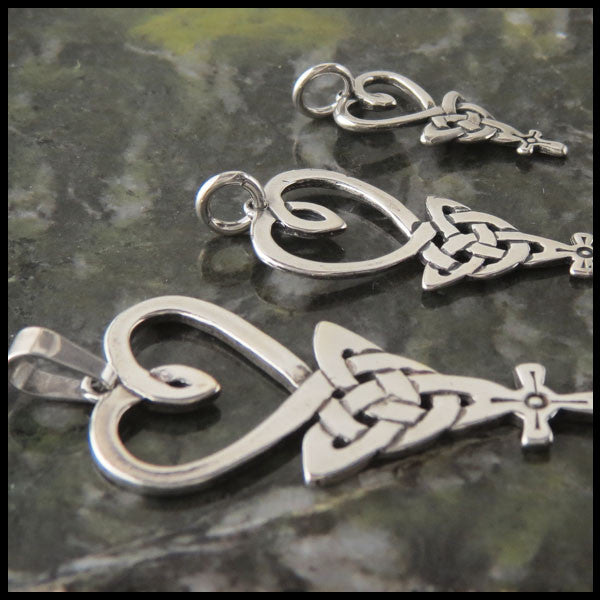 Celtic Knot with Heart Trinity and Cross in Sterling Silver