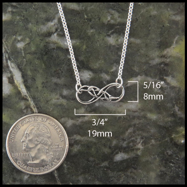 handcrafted Eternity Knot pendant in Sterling Silver by Walker Metalsmiths