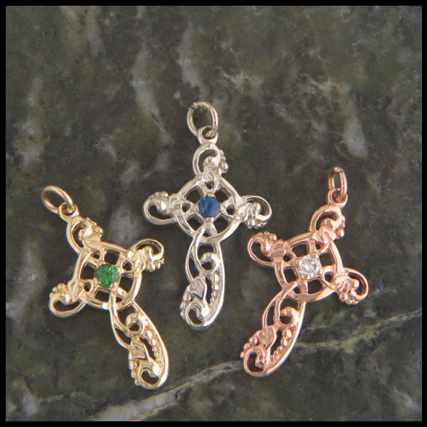14K Gold Ivy Celtic Cross Pendant