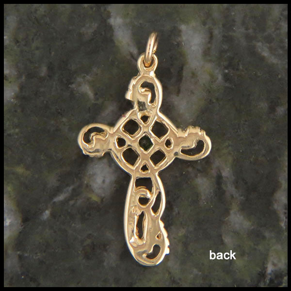 Feminine Celtic Cross in 14K Gold with Genstones
