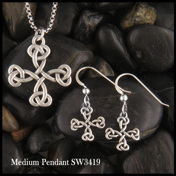 Equal Arm Cross Pendant and Earring Set