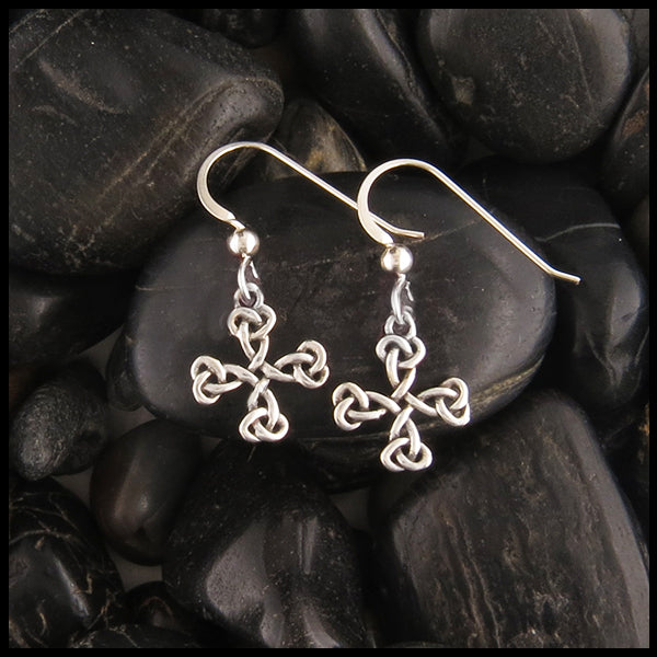 Celtic Cross Earrings in Sterling Silver