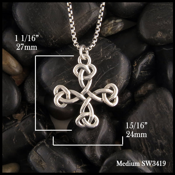 1 1/16 inch long by 15/16 inch wide Celtic Cross