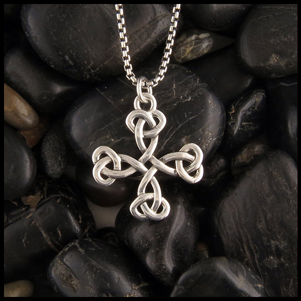 Open knot celtic cross in sterling silver