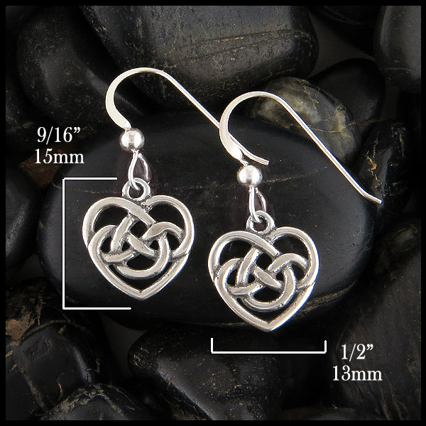 Celtic Robin's Heart Earrings 15mm x 13mm