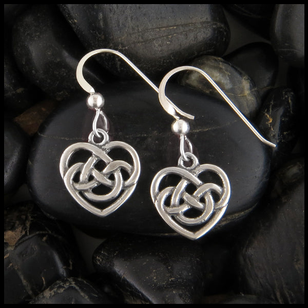 Celtic Heart Drop Earrings in Sterling Silver
