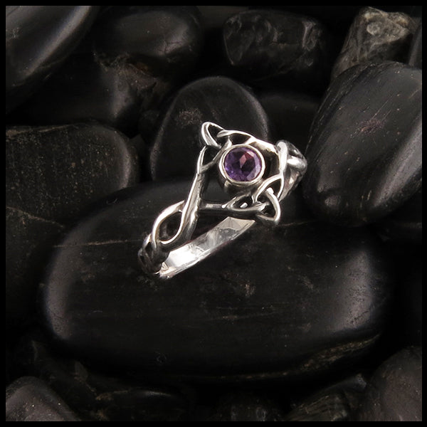 Silver Trinity Knot Ring with Amethyst