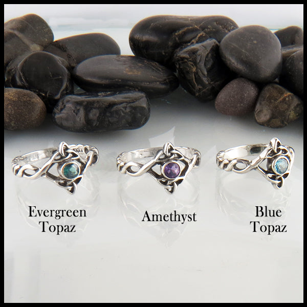 Silver Triquetra Ring with Gemstone