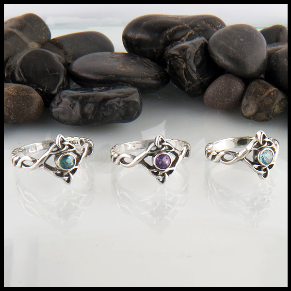 Silver Trinity Knot Ring with Gemstone