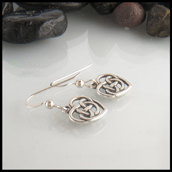Robins Heart Celtic Earrings by Walker Metalsmiiths