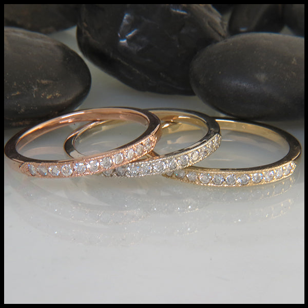 14k rose white and yellow gold narrow milgrain stacking rings set with diamonds
