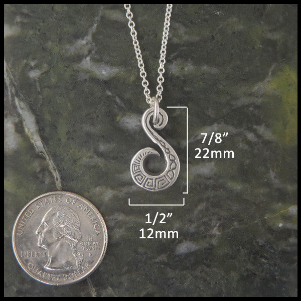 Unique key pattern pendant in Sterling Silver