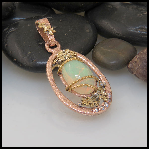Autumnal Opal and Diamond Pendant in Gold