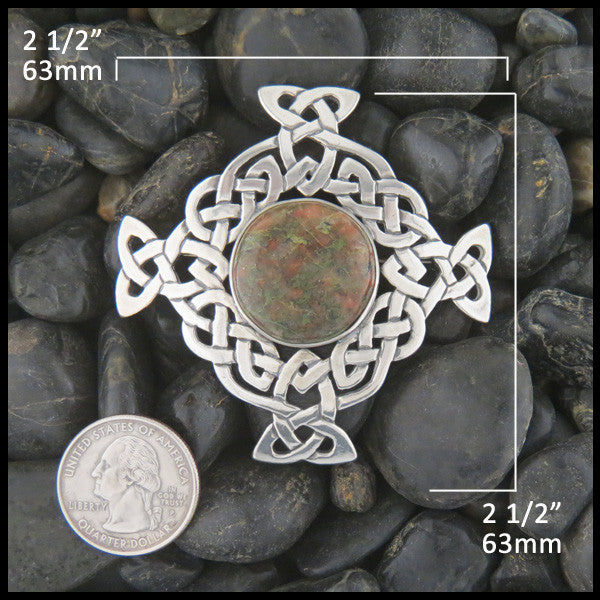 Celtic Knot brooch in Sterling Silver with Bloodstone