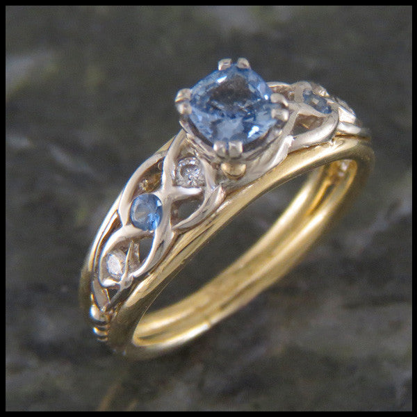 Open Knot Sapphire and Diamond Ring