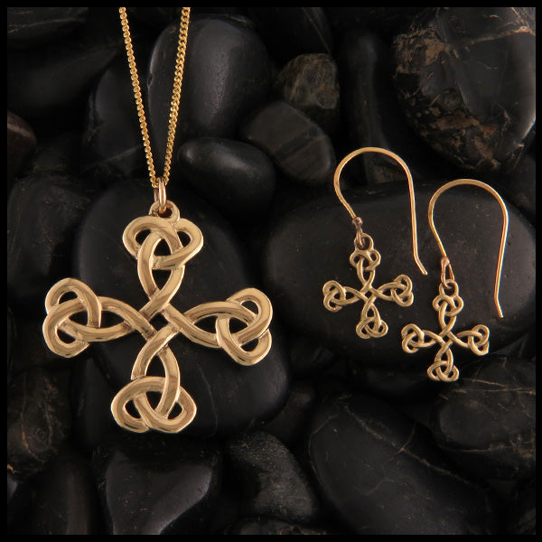 Equal Arm Cross Pendant and Earring Set in Gold
